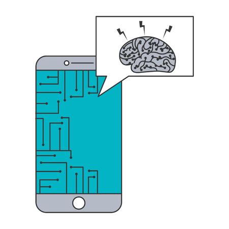 smartphone speech bubble brain circuit board ideas vector illustration blue and gray