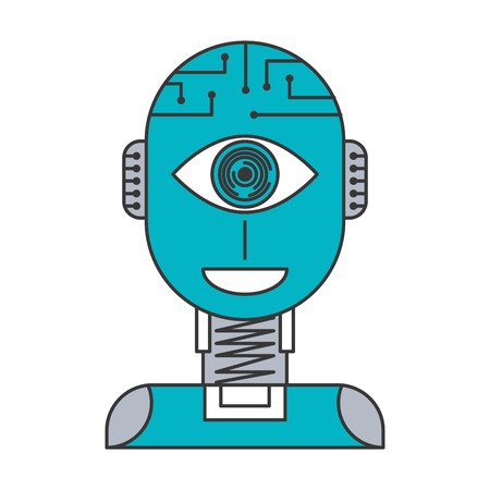 ロボット人工知能セキュリティアイ監視技術ベクトルイラスト青と灰色