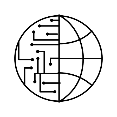 technology world globe network connection circuit vector illustration outline image