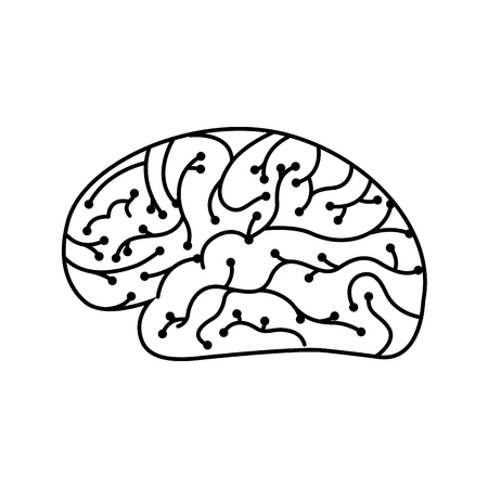 electronic circuit board brain in artificial intelligence process vector illustration outline image Illustration