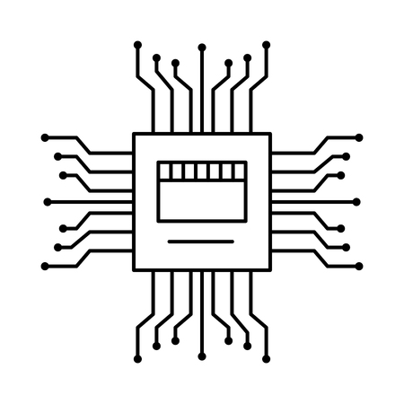 motherboard circuit high tech electric hardware icon vector illustration outline image