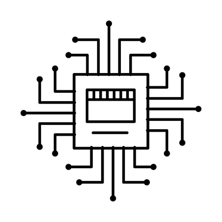 circuit board connection hardware processor vector illustration outline image