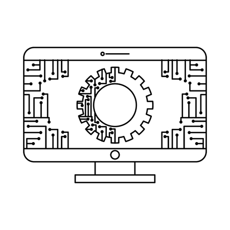 monitor computer with gear circuit connection technology vector illustration outline image Çizim
