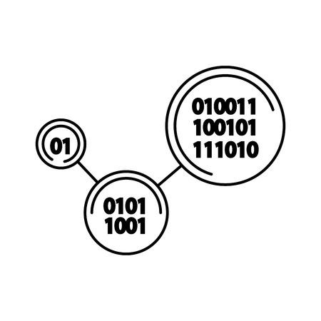 binary code digital technology program vector illustration outline image Ilustração