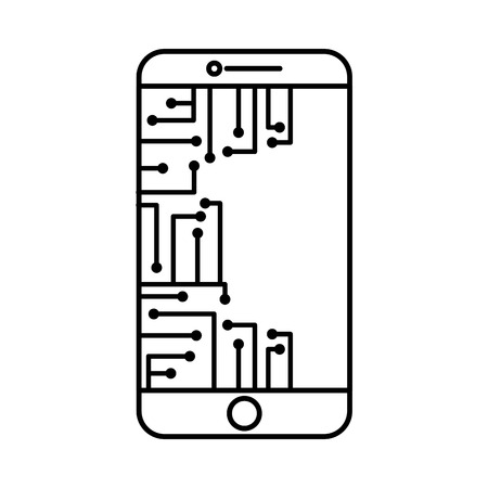 smartphone circuit processor technology device vector illustration outline image
