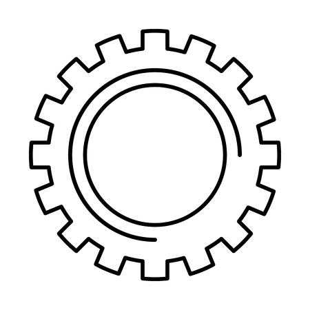gear wheel cog technology mechanical engineering vector illustration outline image