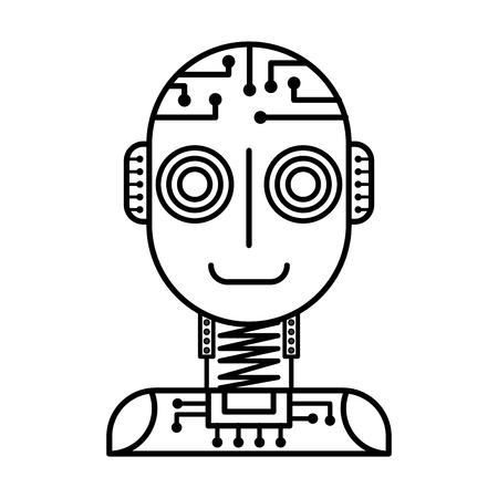 artificial intelligence robot machine technology futurist vector illustration outline image