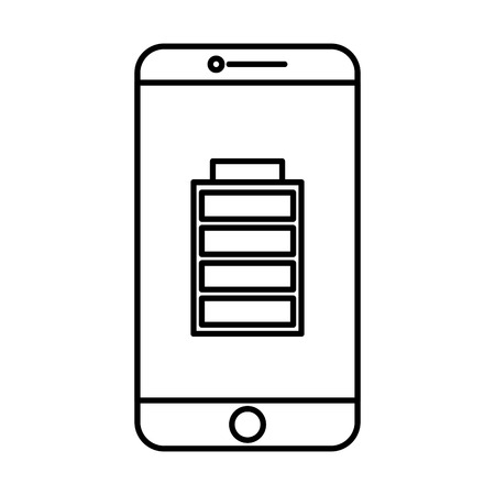 smartphone battery on screen charged technology vector illustration outline image Illusztráció