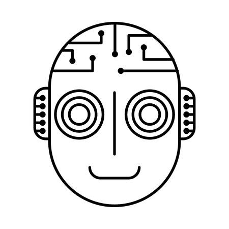 robot artificial intelligence head cyber futuristic vector illustration outline image Illustration