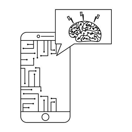 smartphone speech bubble brain circuit board ideas vector illustration outline image