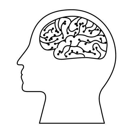 human profile brain artificial intelligence circuit vector illustration outline image