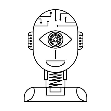ロボット人工知能セキュリティ眼監視技術ベクトルイラストアウトライン画像  イラスト・ベクター素材