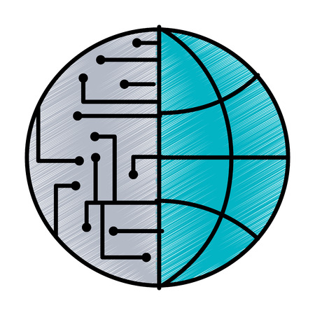 technology world globe network connection circuit vector illustration blue drawing