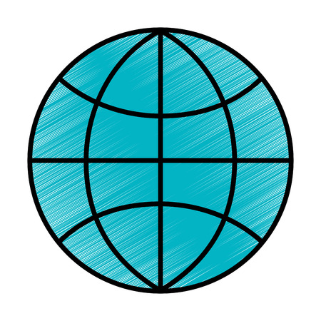 globe world technology connection concept vector illustration blue drawing Ilustração