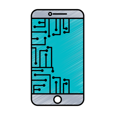 smartphone circuit processor technology device vector illustration