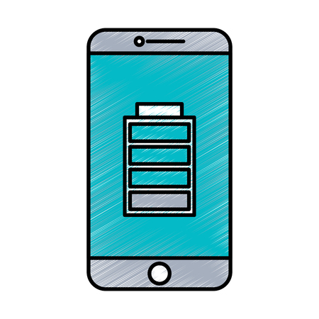 smartphone battery on screen charged technology vector illustration