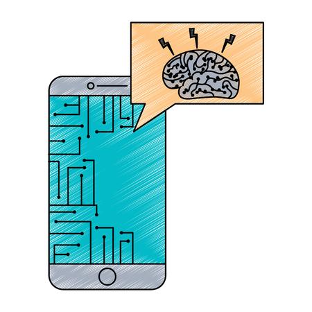 smartphone speech bubble brain circuit board ideas vector illustration Illustration