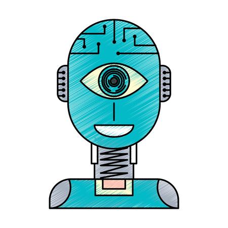 ロボット人工知能セキュリティ眼監視技術ベクトルイラスト  イラスト・ベクター素材