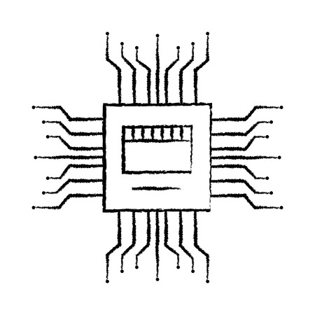 motherboard circuit high tech electric hardware icon vector illustration Vettoriali