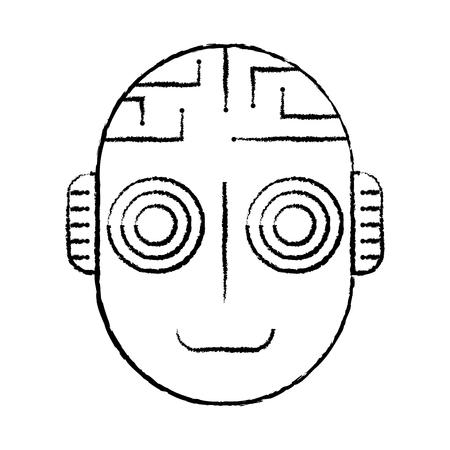 robot artificial intelligence head cyber futuristic vector illustration