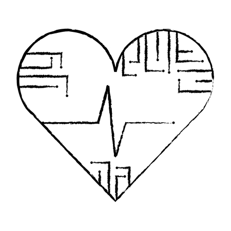 heart rate circuit technology medical image vector illustration