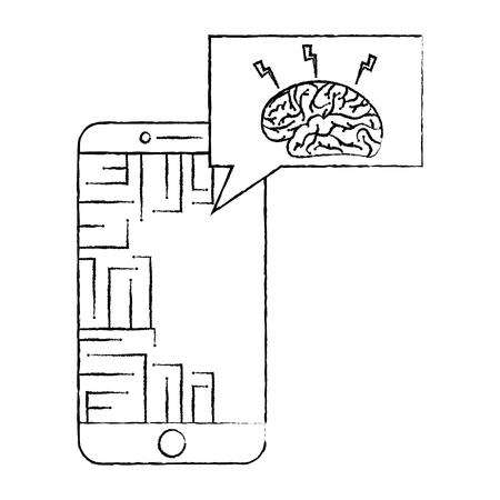 smartphone speech bubble brain circuit board ideas vector illustration 일러스트