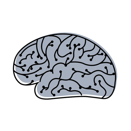 electronic circuit board brain in artificial intelligence process vector illustration Illustration