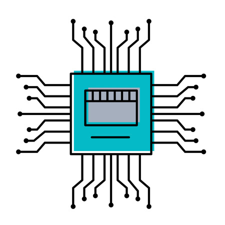 motherboard circuit high tech electric hardware icon vector illustration 向量圖像