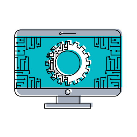 monitor computer with gear circuit connection technology vector illustration