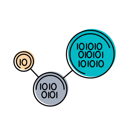 binary code digital technology program vector illustration