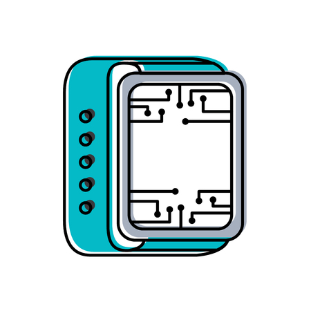 smart watch technology circuit board gadget vector illustration