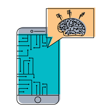 smartphone speech bubble brain circuit board ideas vector illustration  イラスト・ベクター素材