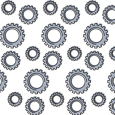 mechanical gears wheel technology pattern vector illustration