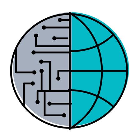 technology world globe network connection circuit vector illustration
