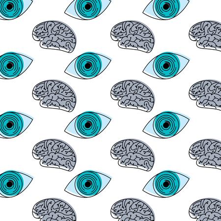 technology eye security brain circuit pattern design vector illustration Çizim