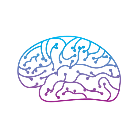 electronic circuit board brain in artificial intelligence process vector illustration Çizim