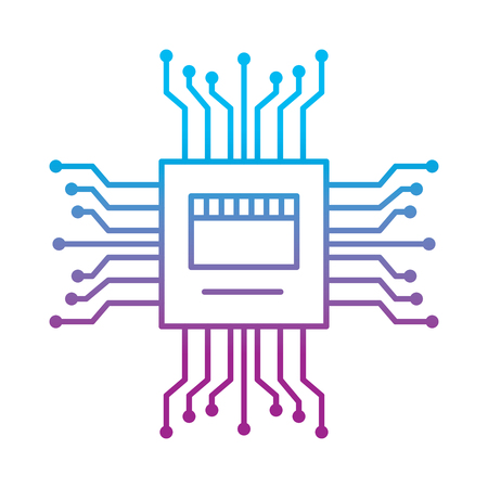 motherboard circuit high tech electric hardware icon vector illustration Çizim