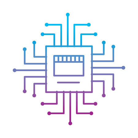 circuit board connection hardware processor vector illustration