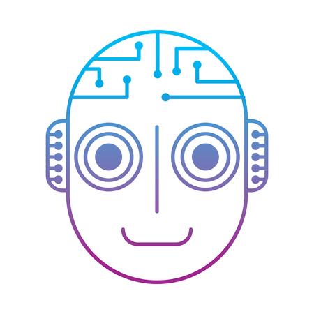 robot artificial intelligence head cyber futuristic vector illustration degrade color line design