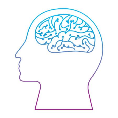 human profile brain artificial intelligence circuit vector illustration degrade color line design