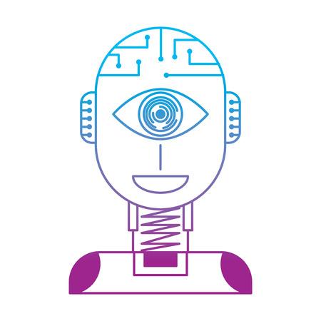 ロボット人工知能セキュリティアイ監視技術ベクトルイラストは、カラーラインデザインを劣化させる  イラスト・ベクター素材