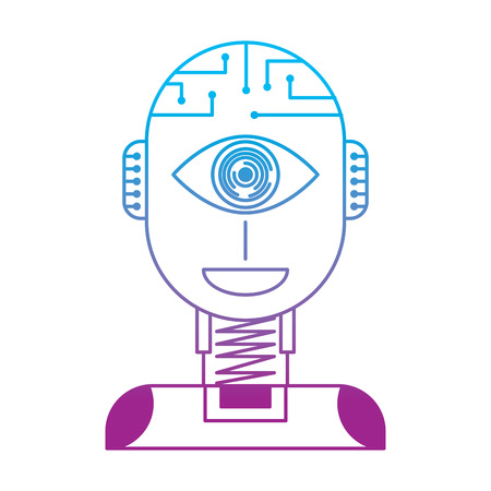 robot artificial intelligence security eye surveillance technology vector illustration degrade color line design
