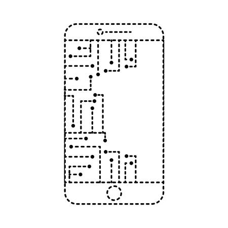 smartphone circuit processor technology device vector illustration dotted line design Ilustração