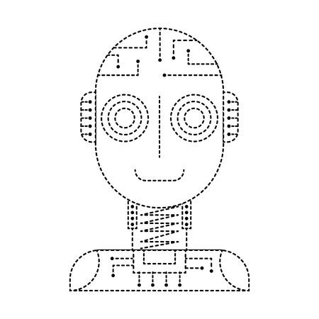 artificial intelligence robot machine technology futurist vector illustration dotted line design