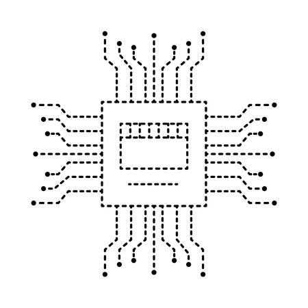 motherboard circuit high tech electric hardware icon vector illustration dotted line design