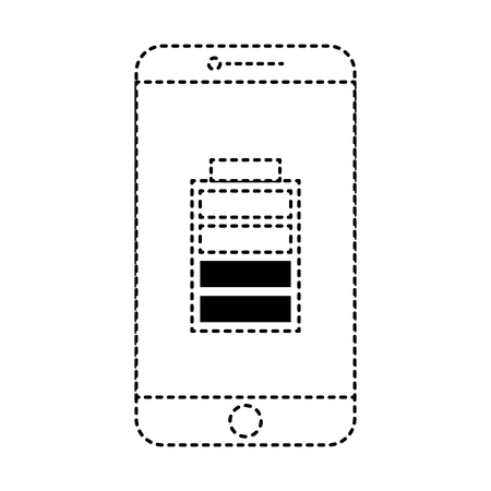 smartphone battery on screen charged technology vector illustration dotted line design