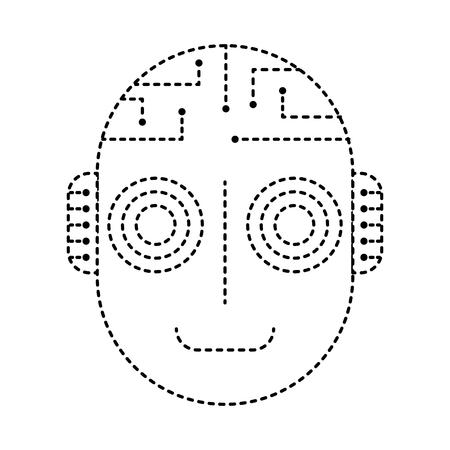 Cabeza de inteligencia artificial robot cyber futurista ilustración vectorial diseño de línea punteada