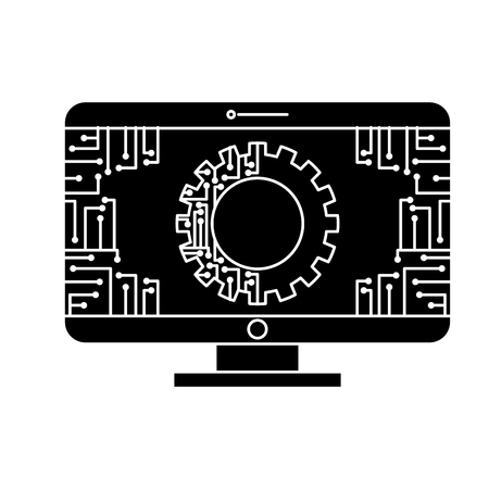 monitor computer with gear circuit connection technology vector illustration black and white design