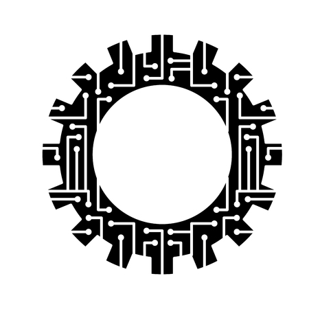 gear wheel and circuit board digital technology and engineering digital vector illustration black and white design 向量圖像
