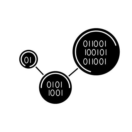 バイナリコードデジタル技術プログラムベクトルイラスト白黒デザイン  イラスト・ベクター素材